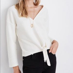 Madewell long sleeve tie- front top size XS